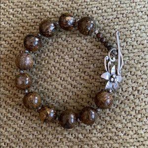 Silpada Brown Bronzite Bead Flower-Toggle Bracelet